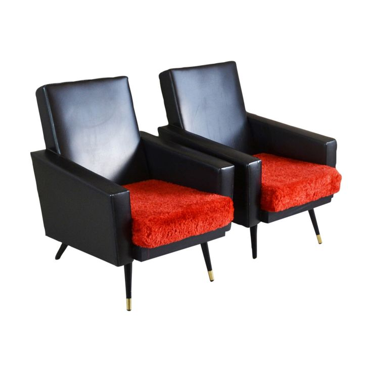 Buy it now: PAIR OF FRENCH BLACK VINYL ARMCHAIRS WITH RED CUSHIONS 1970S #Layer