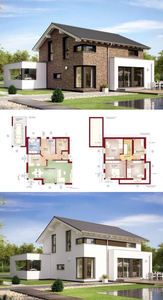 Modernes Einfamilienhaus Mit Satteldach Und Klinker Fassade // Haus  Celebration 125 V6 BienZenker // Fertighaus Moderne Architektuu2026