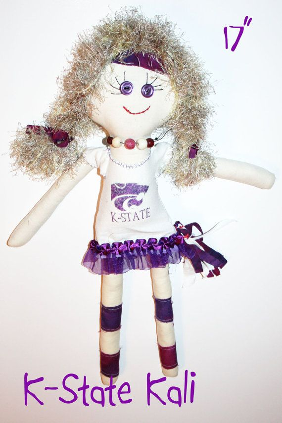 KState Cali  17 Cheerleader Cloth Doll by GinsLilCharacters, $35.00