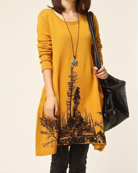 Yellow sweater dress knitwear wool dress large size knitted  casual sweater dress plus size sweater cotton blouse women long sweater    049