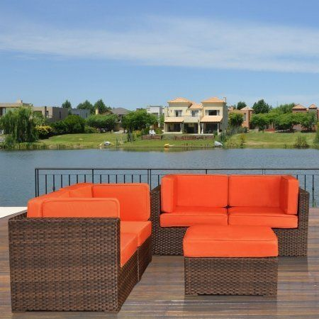 International Home Miami PLI NICE5OR Atlantic Nice Converation 4-pc Set Orange by International Home Miami. $2359.73. 4 Corner pieces: 32 W x 32 D x 27 H with cushions.. (1) Ottomans: 28 W x 28 D x 13 H with cushions.. Cushion color: Orange.. Aluminum and Synthetic Wicker frame.. Wicker color: Dark Brown.. 4 Corner pieces: 32 W x 32 D x 27 H with cushions. (1) Ottomans: 28 W x 28 D x 13 H with cushions. Aluminum and Synthetic Wicker frame. Wicker color: Dark Brown. C...