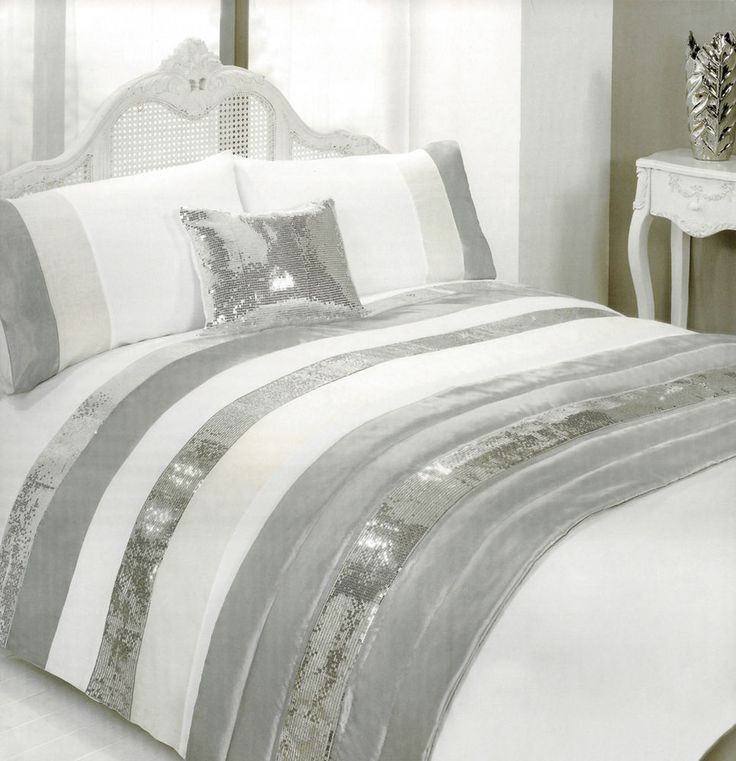 Glitterati White Embellished Duvet Set With Silver Sequin Bands For Double Bed in Home, Furniture & DIY, Bedding, Bed Linens & Sets   eBay #bed #bedding #duvet #stylish #thatsdarling #bedroom #style #decor #modern #cosy #relax #relaxing #doubleduvet #home #linen #homedecor #homestyle #interior #design #sequins #sparkle #sparkly #silver #stripes #HarvardMills #LordOfTheLinens
