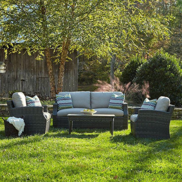 Klaussner Cascade 4-piece Brown Wicker Outdoor Furniture Set (Cascade 4-piece Set - Amazon), Beige, Size 4-Piece Sets, Patio Furniture