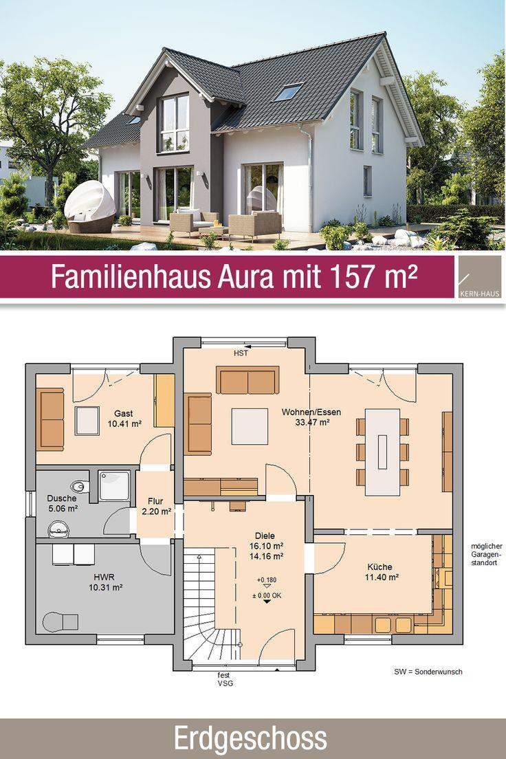 Familienhaus – Grundriss 157 m² – 6 Zimmer – Erdgeschoss