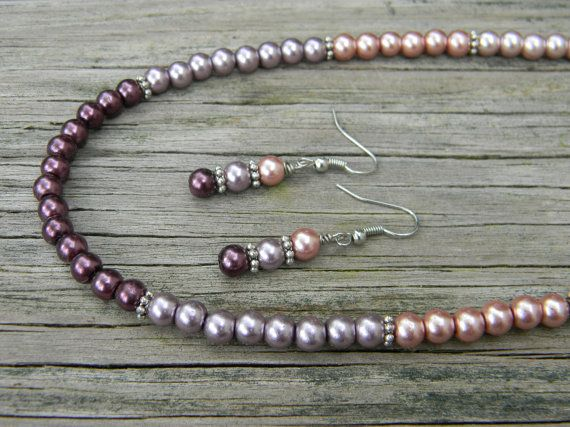 Glass Pearl Necklace and Earring Set Ombre Pearl by PipandAnya