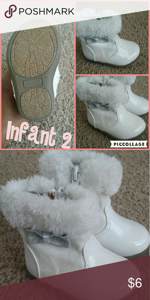 White Winter Boots Infant 2 Hard Bottom Silver Bow Zipper No fur inside healthtex Shoes Rain & Snow Boots