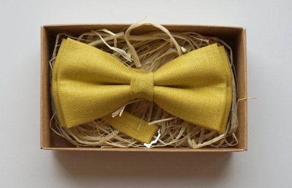 Mustard linen bow tie / Yellow bow tie / Wedding by ArtOfLithuania