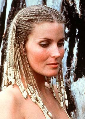 "Bo Derek braids with beads. 1979: Braids and beads cross the color line when Bo Derek appears with cornrows in the movie ""10."""