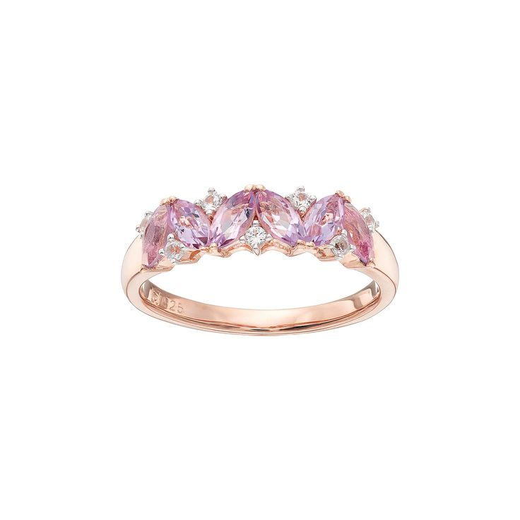 14k Rose Gold Over Silver Rose de France Amethyst & Lab-Created White Sapphire Ring, Women's, Size: 8, multicolor