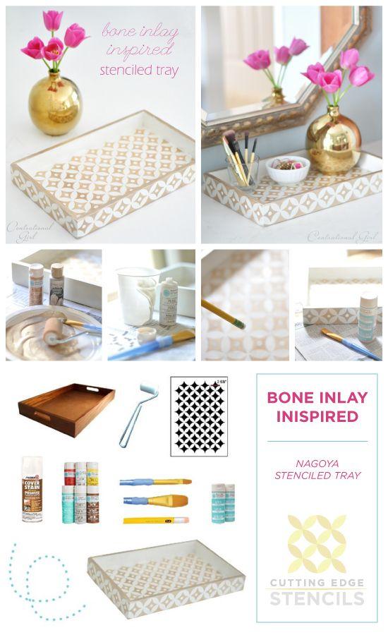 A DIY bone inlay tray using the Nagoya Craft Stencil from Cutting Edge Stencils. http://www.cuttingedgestencils.com/nagoya-furniture-stencil.html