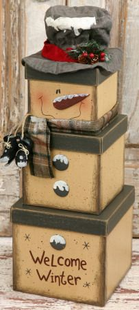 """Snowman Nesting Boxes Large Box reads welcome winter & has a button attatched. Medium box has 2 buttons attatched. Small box has the santa face with a scarf. The lid has his top hat attatched. Stack measures 20""""H $25.99"""