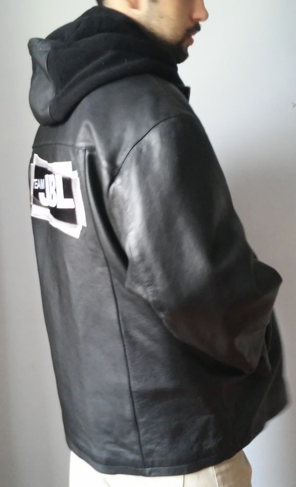 black leather jacket and hoodie jackets All Urban clan Men'sSize XL #urban #BasicJacket#tumbrl#avito#instagram