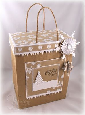 Gift bag topper, brown paper bag with snowflakes and icicles