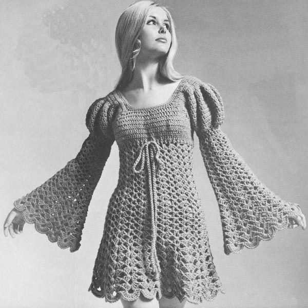 Juliet Dress Vintage 1960s Hippie Ren Faire Crochet Pattern PDF