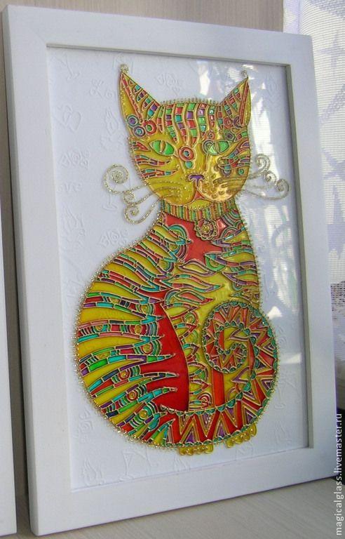 """Купить Картина на стекле """" Радужная кошка"""" - разноцветный, картина, картина в подарок, картина для интерьера"""
