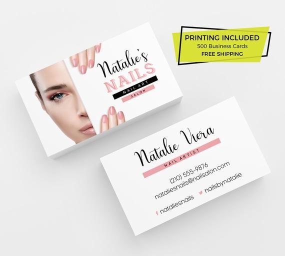 Nail Salon Business Card 500 Printed Business Cards Etsy Nail Salon Business Cards Salon Business Cards Printing Business Cards