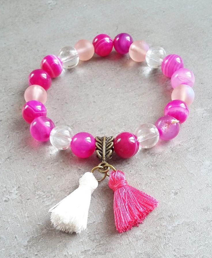 Agate with quartz bracelet