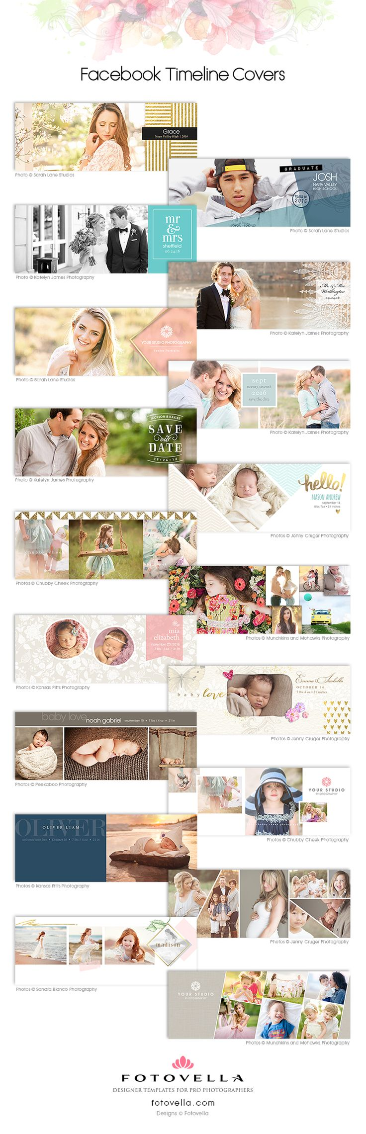 Facebook timeline cover Photoshop template designs for photographers by FOTOVELLA.