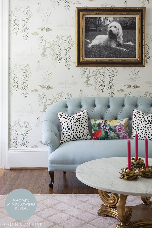 Wallpaper is Nina Campbell's Swan Lake and sofa is Ballard Designs
