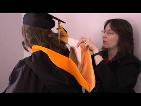 How to wear graduation hood - YouTube