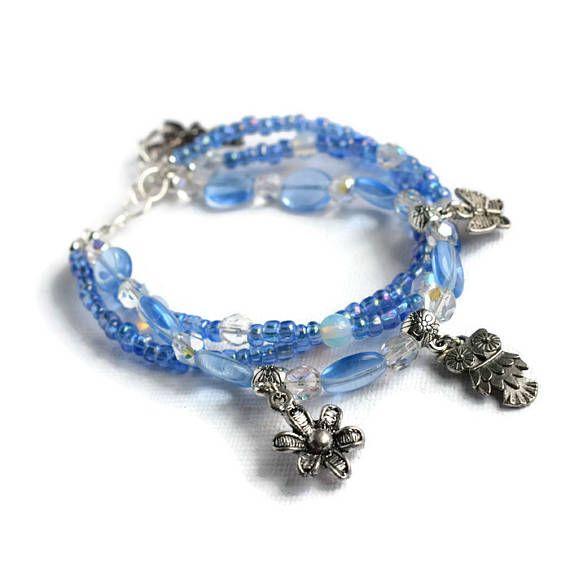 Three Strand Bracelet  Blue Beaded Bracelet  Summer Bracelet