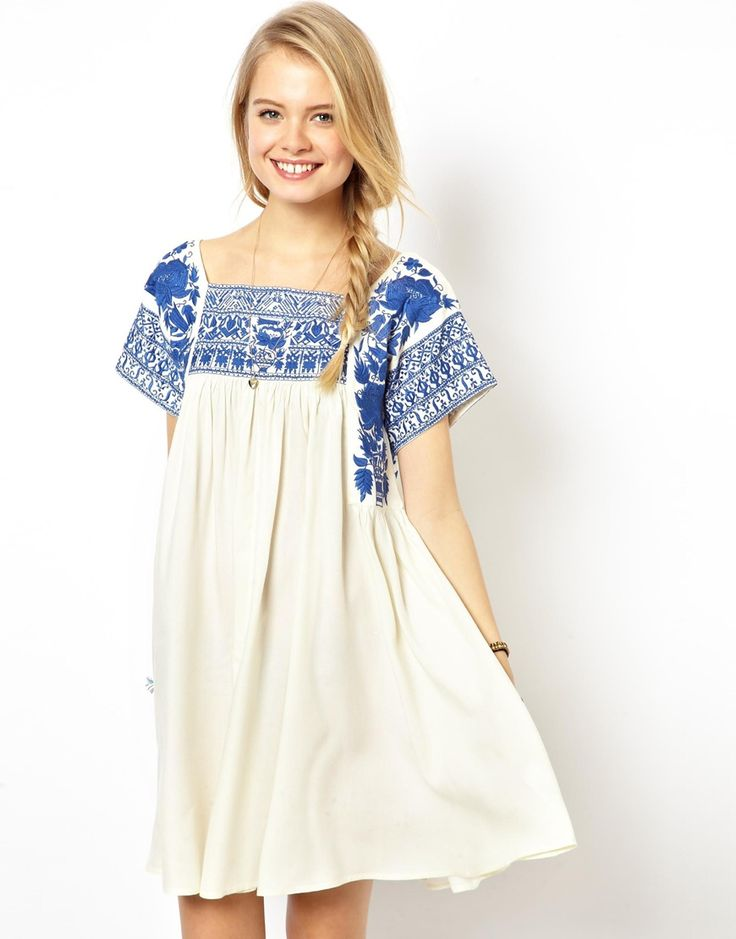 blue embroidered swing dress