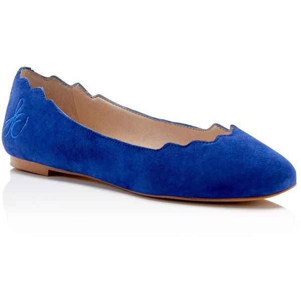 Sam Edelman Augusta Scallop-Edge Ballet Flats found on Polyvore featuring shoes, flats, sailor blue, flat shoes, ballet pumps, blue suede flats, blue flat shoes and blue ballet shoes