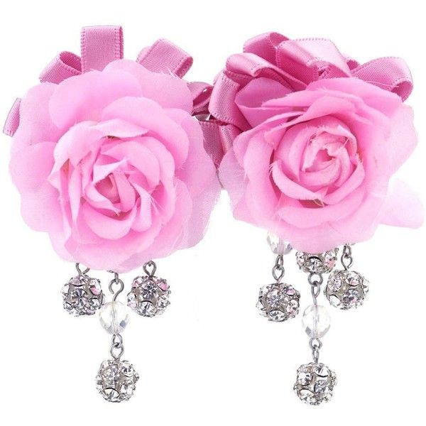 Vintage 90s Pink Rose Earrings – THE WAY WE WORE ❤ liked on Polyvore featuring jewelry, earrings, fake earrings, clip earrings, pink flower earrings, rose earrings and rhinestone earrings