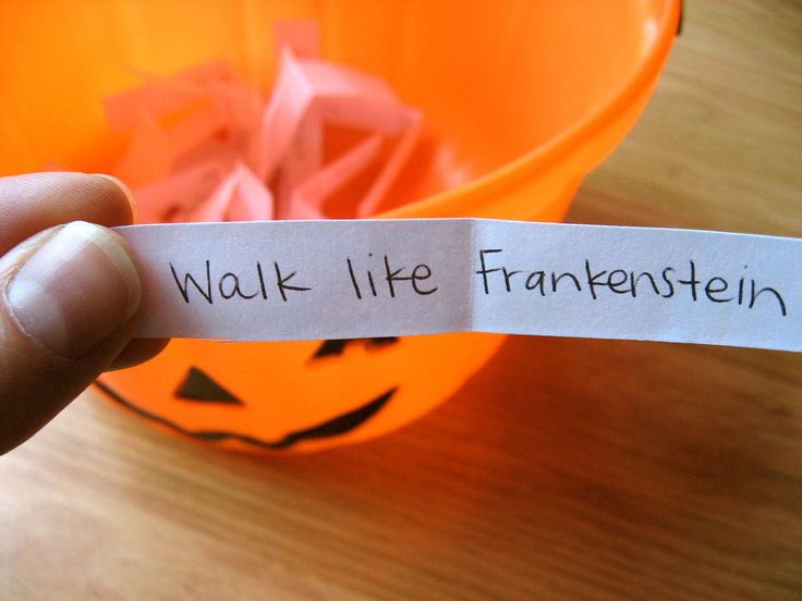Need a game idea for a Halloween party? Halloween Charades is so much fun! Geared toward children, but could be fun for teens or adults, too, particularly if you are playing in a family setting. Perfect for groups from 5-30 people. To play, cut out all the prompts and place in a bucket or basket. Have the guests one by one choose a slip and then act it out. Some of these are really hilarious!