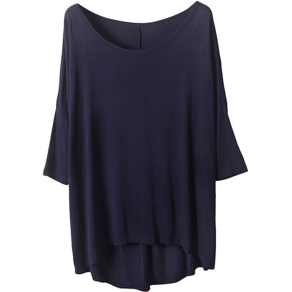 Blackfive Asymmetric Batwing Sleeves Loose Modal T-Shirt (£14) ❤ liked on Polyvore featuring tops, t-shirts, shirts, tees, blue shirt, navy tee, loose shirts, loose fit t shirts and loose t shirt