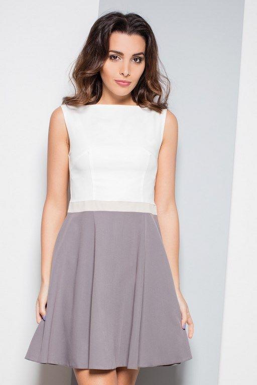 Letnia szaro biała sukienka bez rękawów