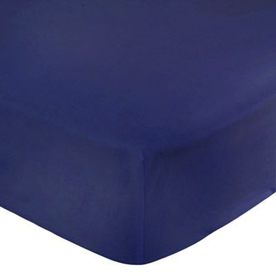Home Collection Navy 180 thread count brushed cotton flannelette fitted sheet | Debenhams