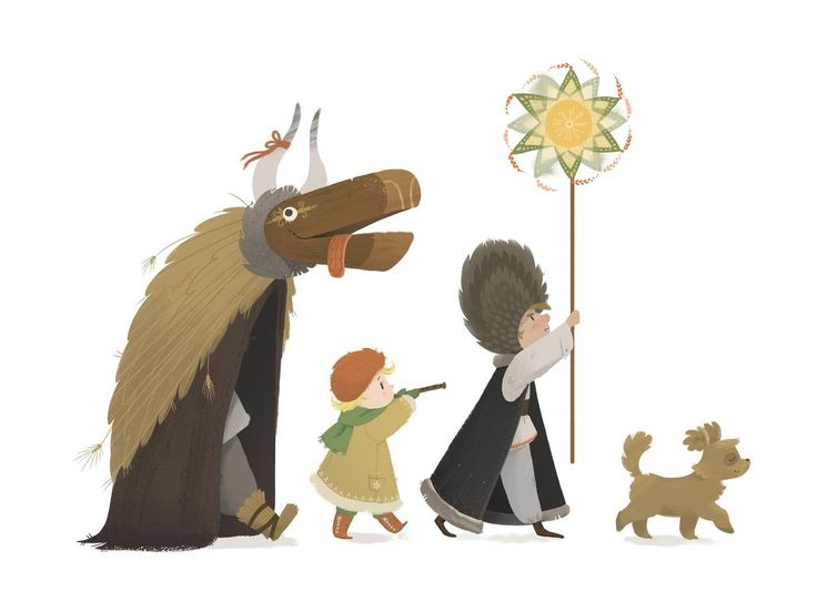 Joanna Stopyra Art & Animation  #święta #kolędnicy #koledari #Polska #tradycja #tur #gwiazdor #muzykanci #słowianie #slavic #illustration #children #card #kartka #polish #Poland