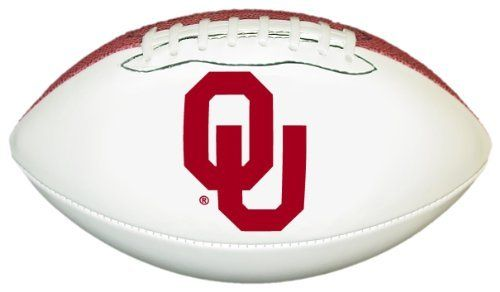 Oklahoma Sooners Official Size Synthetic Leather Autograph Football by GameMaster. $18.45. One Official Size Synthetic Leather Football with three white panels and one brown pebble panel.. An excellent way to display your team spirit in any room or office.. Printed High Quality Official Oklahoma Sooners Logo on One White Panel. The three bright white panels allow plenty of space for autographs of your favorite players and coaches.. NCAA Oklahoma Sooners Official Siz...