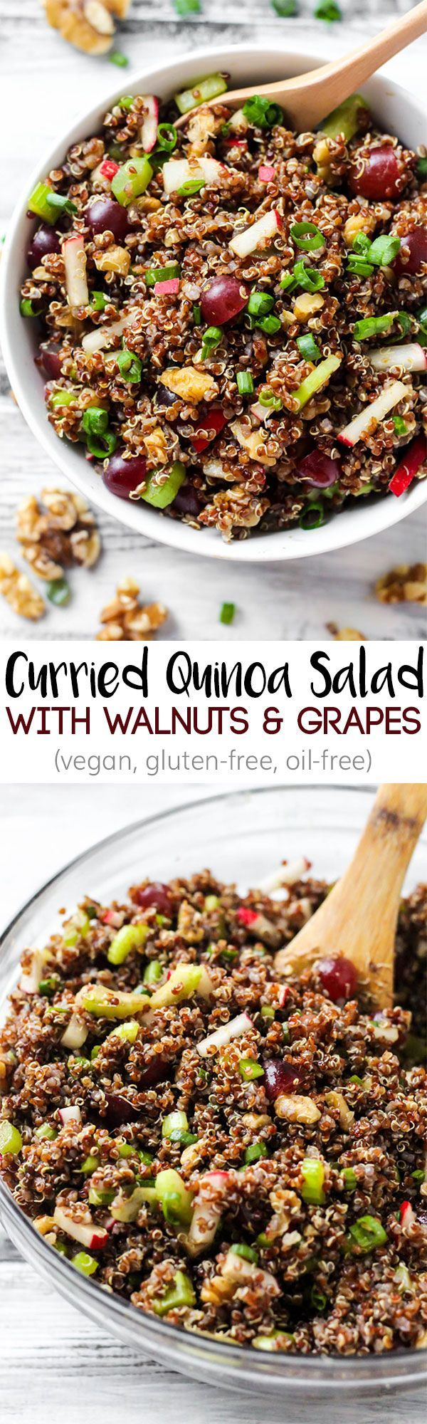 Serve this Curried Quinoa Salad as a flavorful side dish full of crunchy walnuts, juicy grapes and a curry dressing. Leftovers make a great light lunch! @cawalnuts #walnuts #CG #ad http://www.emilieeats.com/curried-quinoa-salad-grapes-walnuts/?utm_campaign=coschedule&utm_source=pinterest&utm_medium=Emilie%20Hebert%20%7C%20Emilie%20Eats%20&utm_content=Curried%20Quinoa%20Salad%20with%20Grapes%20and%20Walnuts