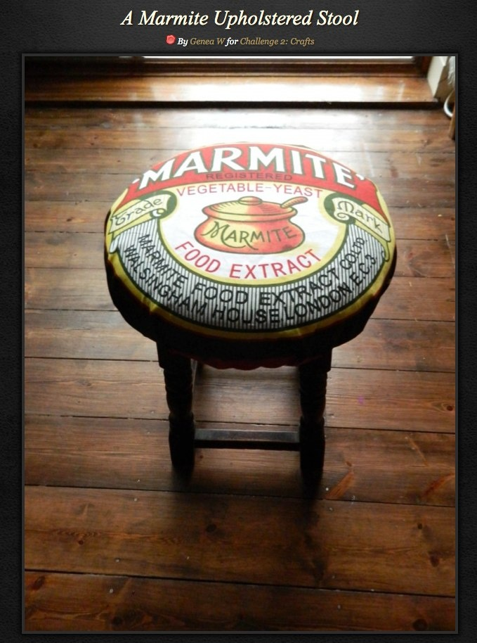 A Marmite Upholstered Stool via www.PearlandEarlLoves.com