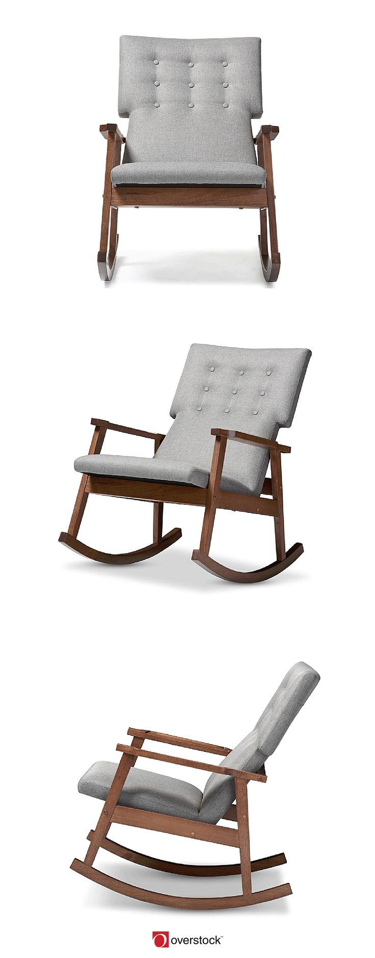 Featuring Scandinavian style with modern aesthetic, the Agatha rocking chair features upholstered high back cushioned seat with button tufting design. The rocking base of the chair is constructed of solid rubberwood in dark walnut finishing for a truly retro feel. The sculpted armrests provide strong support for extra comfort after a long day. This piece, looks smart, modern, but comfortable can be a good rocking chair for nursery during middle of the night feedings and yet a pretty piece of…