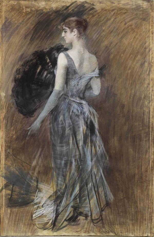 Giovanni Boldini Signora Bionda in abito da sera (1900 ca) pastello su carta