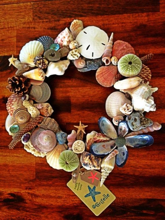 Sea shell wreath 15 39 on etsy wreaths etc for Seashell wreath craft ideas