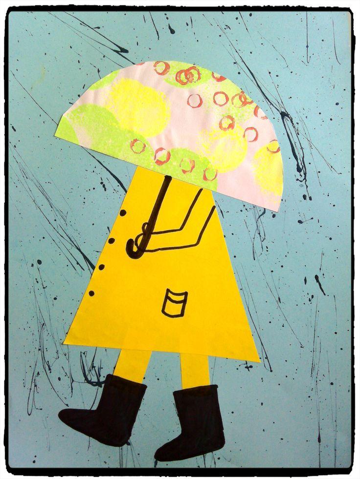 bricolage d'automne, sous mon parapluie, la pluie, enfant