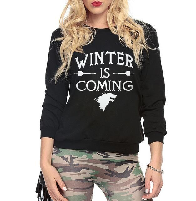 Funny Games of Thrones Winter Is Coming Women harajuku sweatshirt 2017 female Casual hip-hop hoodies kpop tracksuit mma pullover