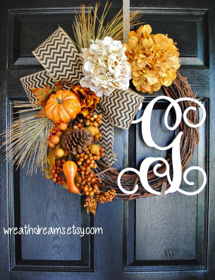 Fall Monogram Grapevine Wreath with Burlap. Fall Wreath. Autumn Wreath. Summer Wreath. Housewarming, Wedding, Mother's Day. Monogram Wreath. by WreathDreams on Etsy https://www.etsy.com/listing/240995647/fall-monogram-grapevine-wreath-with