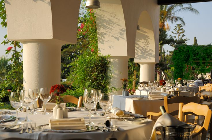 """Begin your day with a sumptuous breakfast from the rich buffet in the """"Bacchus"""" or Ambrosia restaurant in the gardens of Minos beach art"""