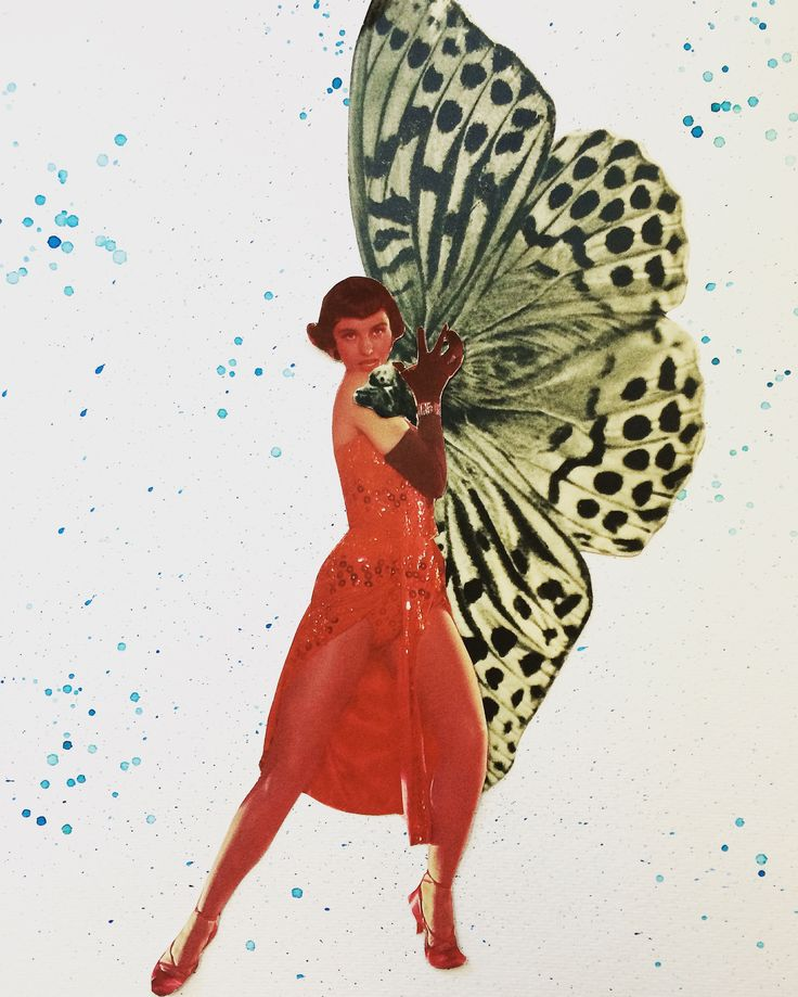 """""""The Moth Tamer"""" Collage, ink featuring Cyd Charisse"""