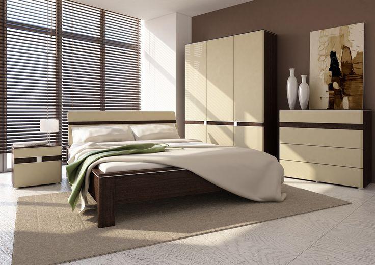 Idealna fuzja wiśni malaga z beżem w wysokim połysku oraz aluminiowymi dodatkami przy frontach, przemawia do użytkownika z wysublimowanym gustem. #sypialnia #bedroom #meble #furniture #relaks #relax #odpoczynek #inspiracja
