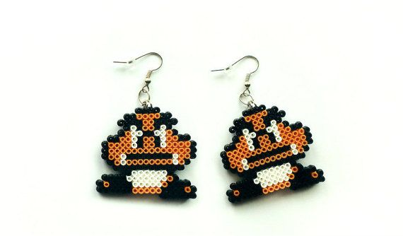 Goomba Earrings - Mini Hama/Perler Beads, Super Mario Earrings, Nintendo Earrings, Geek Earrings, Hook or Clip-On, Pixel Jewelry by 8BitEarrings on ETSY