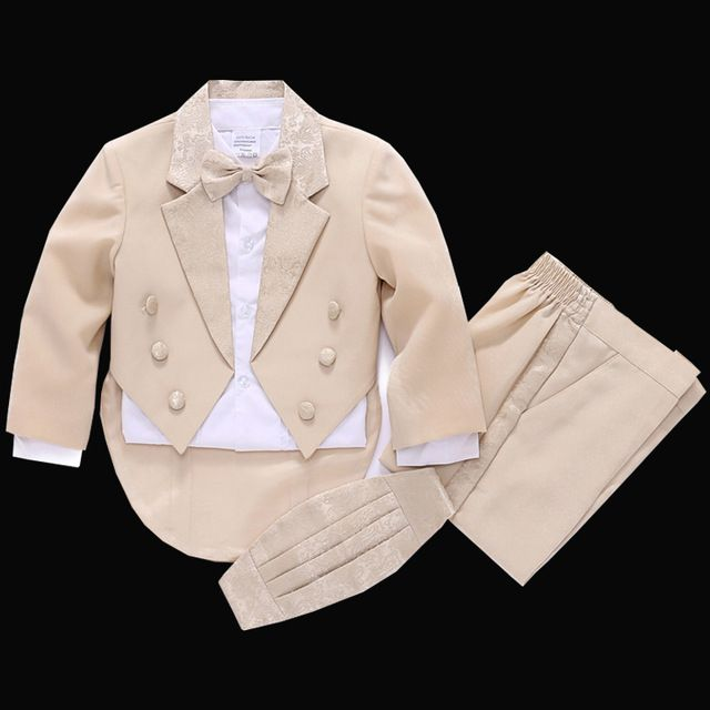 Special offer Kids Tuxedos Boys beige Dress suit Children Tails suit Jacket Vest Shirt Trouser Bow tie 5PCS Boys formal dress just only $36.47 with free shipping worldwide  #boysclothing Plese click on picture to see our special price for you