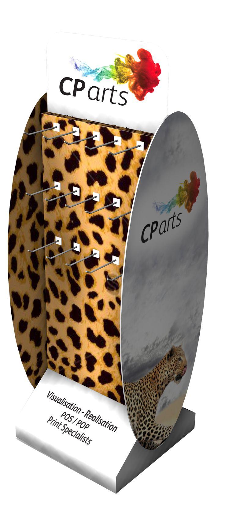 C P arts leopard print FSDU with hooks