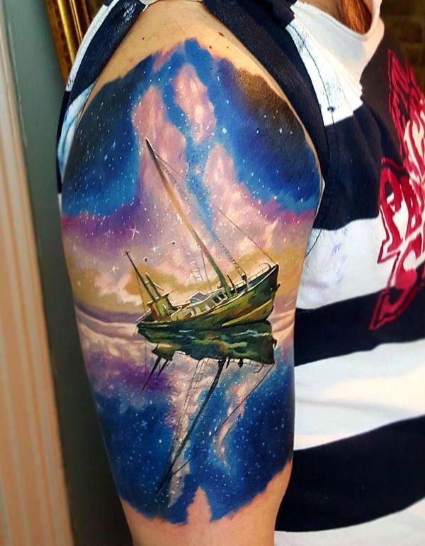 Boat with milk way stars tattoo - 100 Boat Tattoo Designs <3 <3