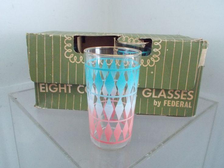 8 vintage 1950u0027s diamonds retro federal glass pink aqua drinking glasses u0026 box